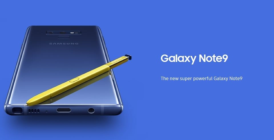 Ocean Blue colored-Samsung Galaxy Note9 smartphone